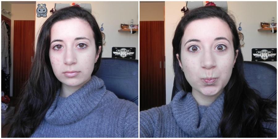 Para que podamos comparar, en la foto de la izquierda llevo base en solo una mitad de la cara (la mitad derecha de mi cara), mientras que en la foto de la derecha llevo base en todas las mitades de mi cara ;)