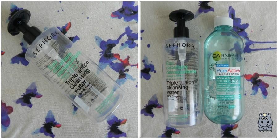 Agua micelar Sephora y Garnier